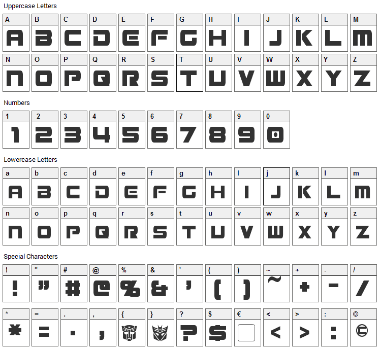 Mission GT-R Font Character Map