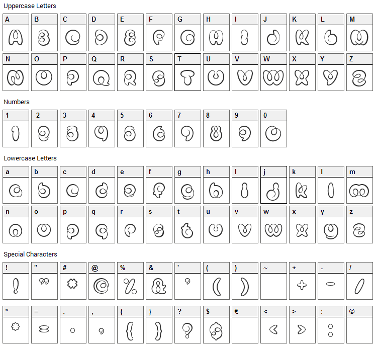 Mister Loopy Font Character Map
