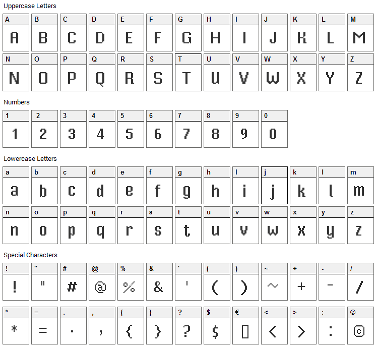 Mister Pixel 16 Font Character Map