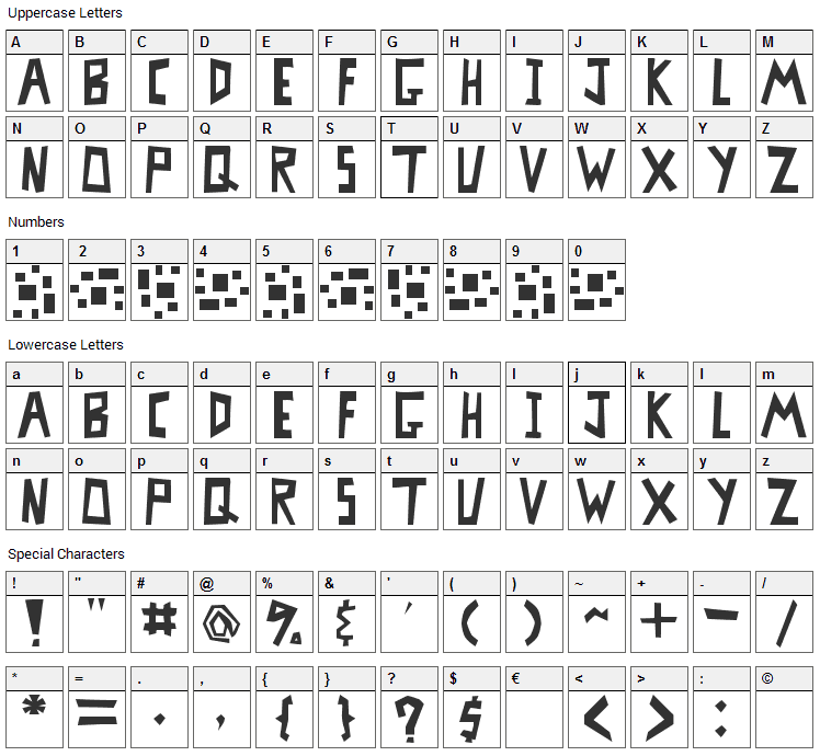MisterBass Font Character Map