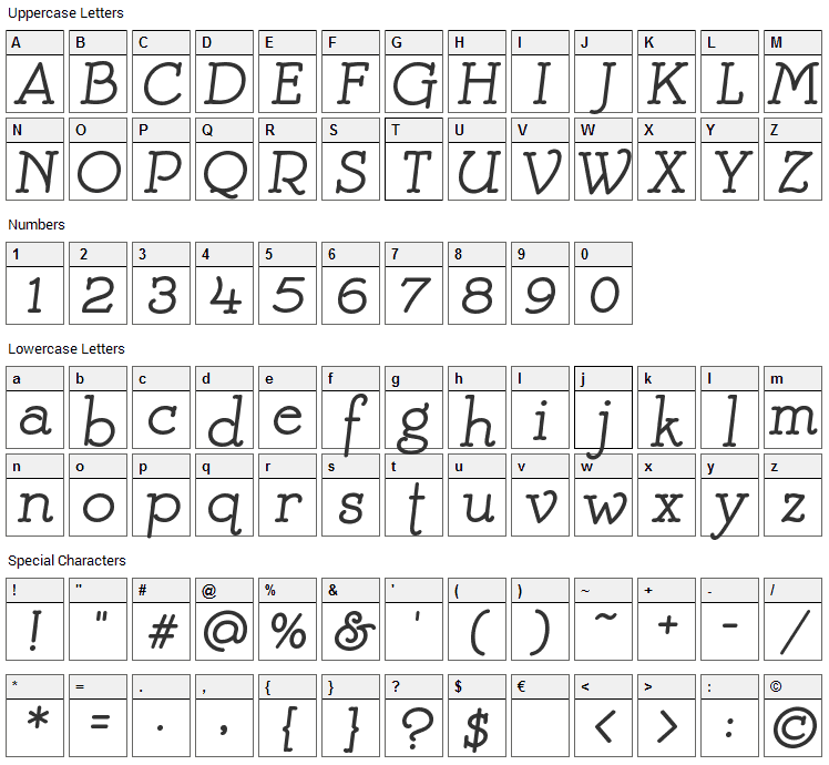 Mistress Font Character Map