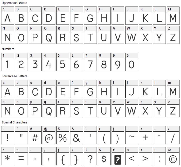 Mixolydian Titling Font Character Map