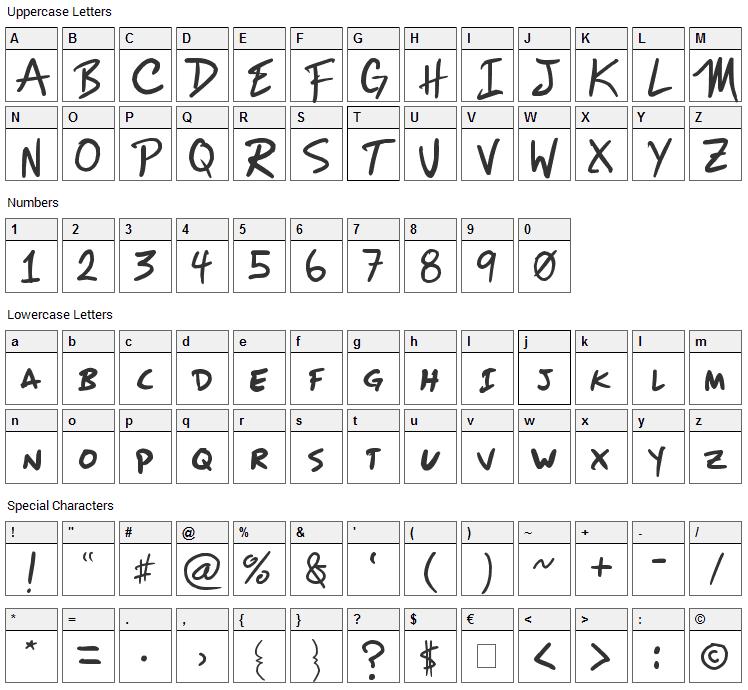 Mizike Font Character Map