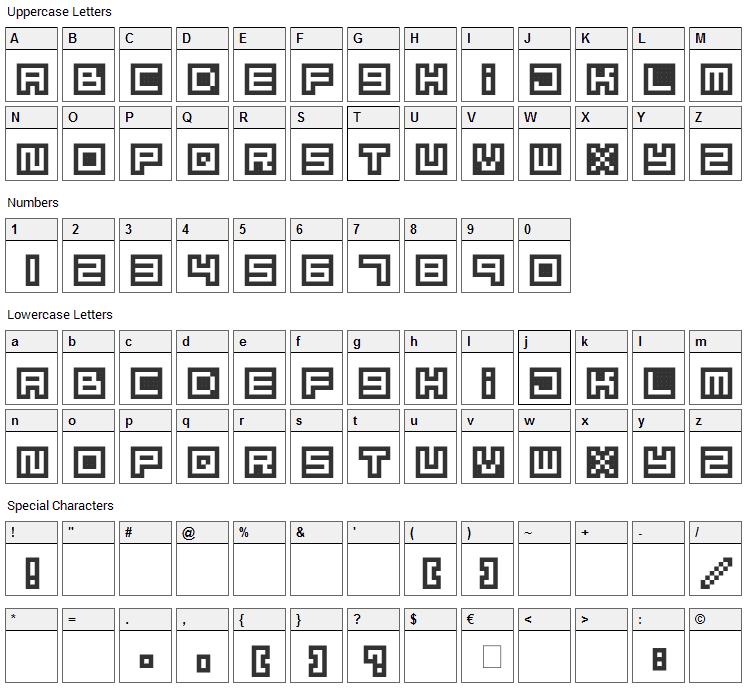 Mizu Font Alphabet Font Character Map