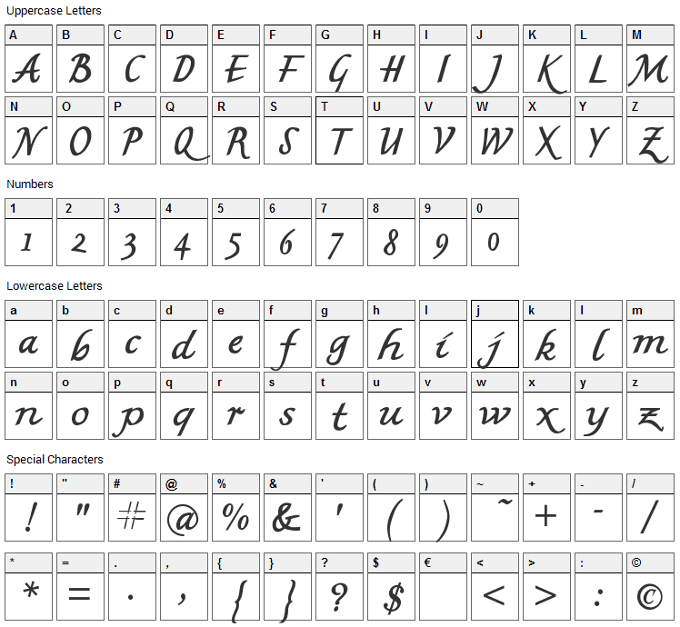 MK British Writing Font Character Map