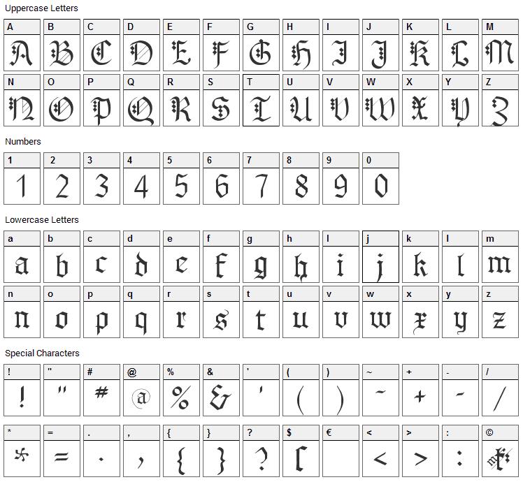 MK Broken Types Font Character Map