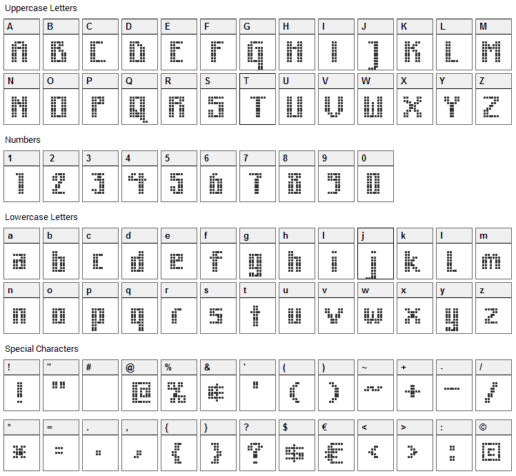 MK Zodnig Square Font Character Map