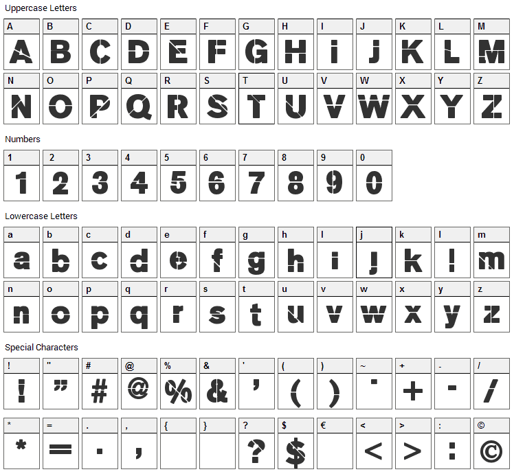 MKStencilsansBlack Font Character Map