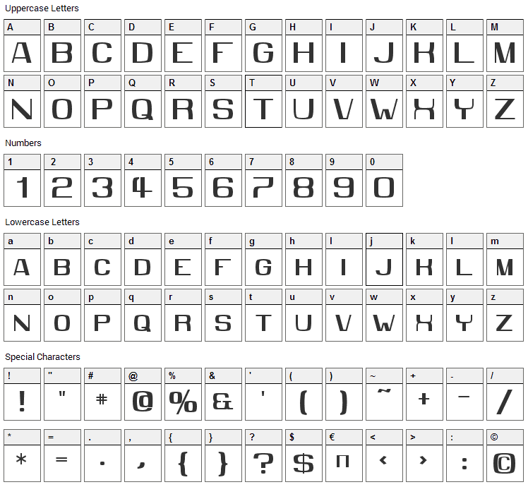 MMX2010 Font Character Map