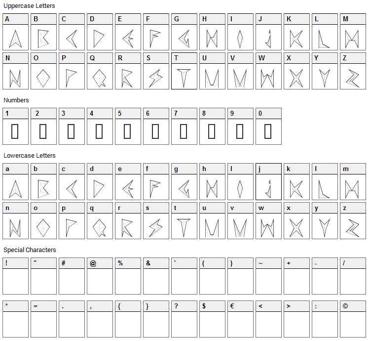 MND Pinballer Font Character Map