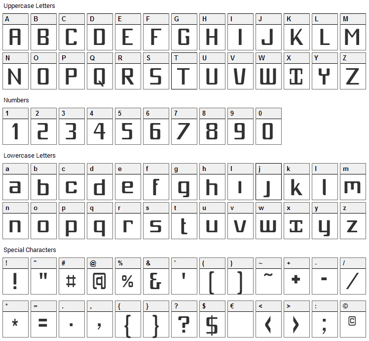 Mobitale Font Character Map