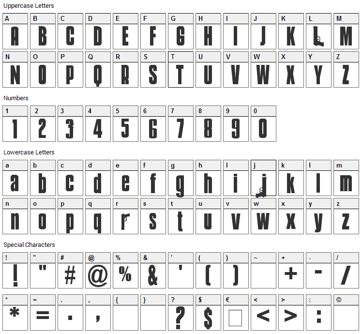 Mobsters Font Character Map