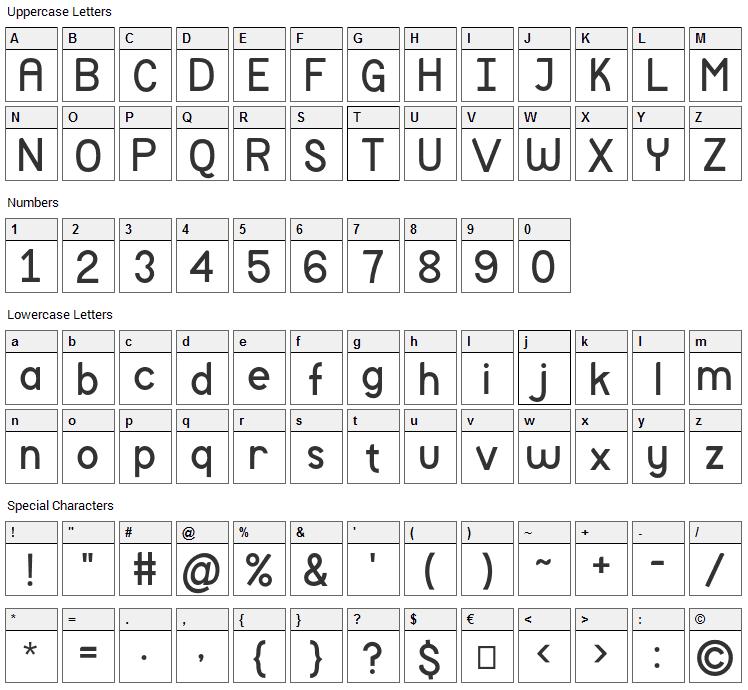 Mockup Font Character Map