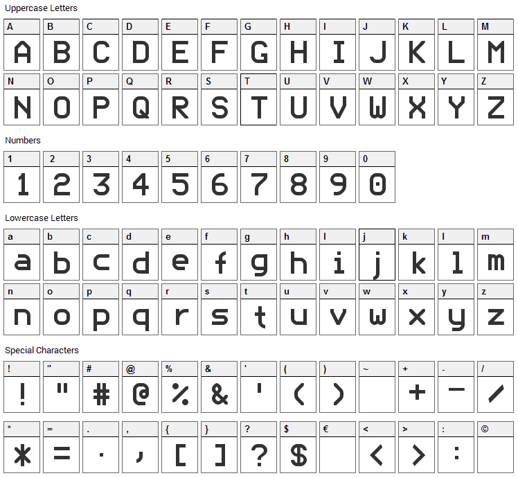 ModeNine Font Character Map