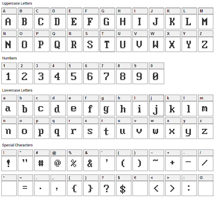 Moder DOS 437 Font Character Map