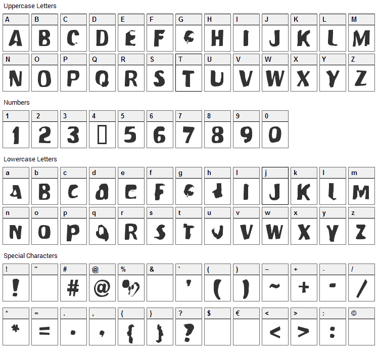 Modern Conformist Font Character Map