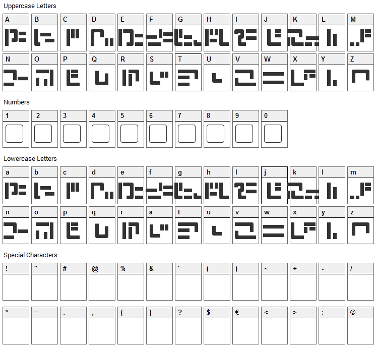 Modern Iaconic Font Character Map