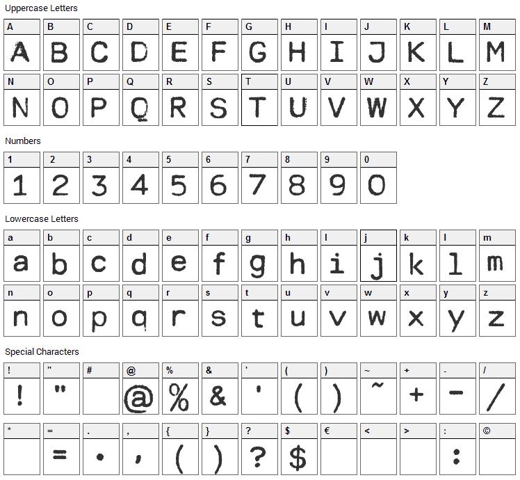 Modern Typewriter Font Character Map