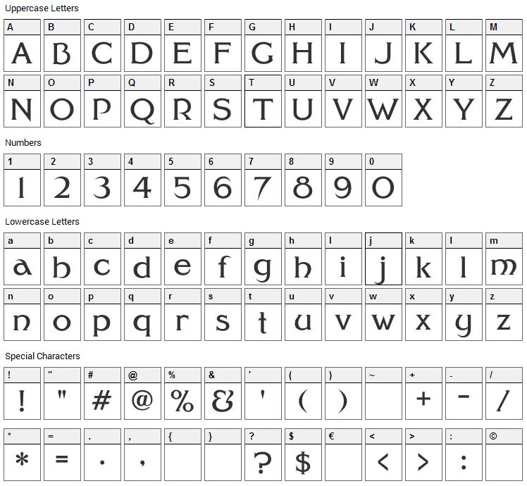 Modernized Ideal Classic Font Character Map