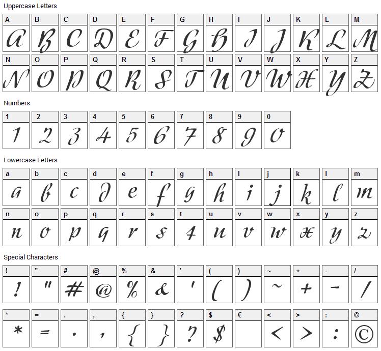 Modeschrift Font Character Map