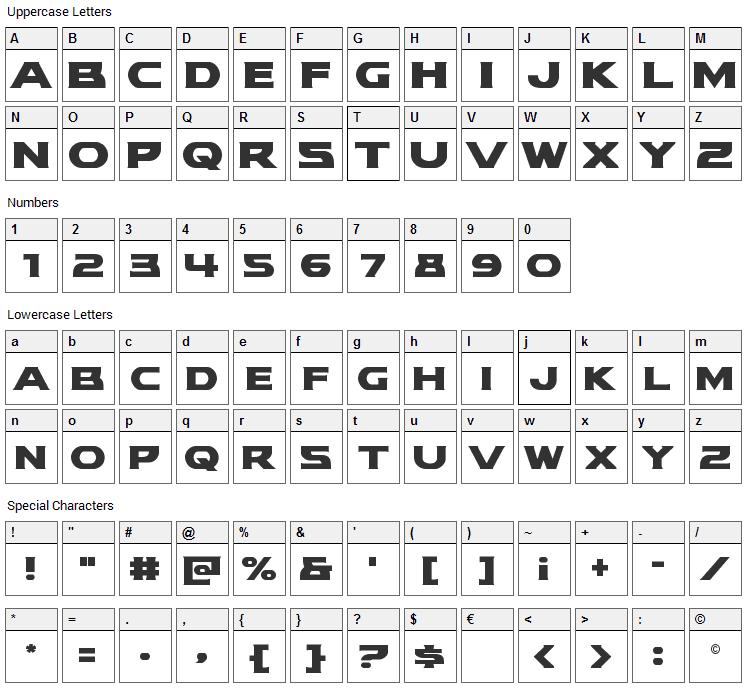 Modi Thorson Font Character Map