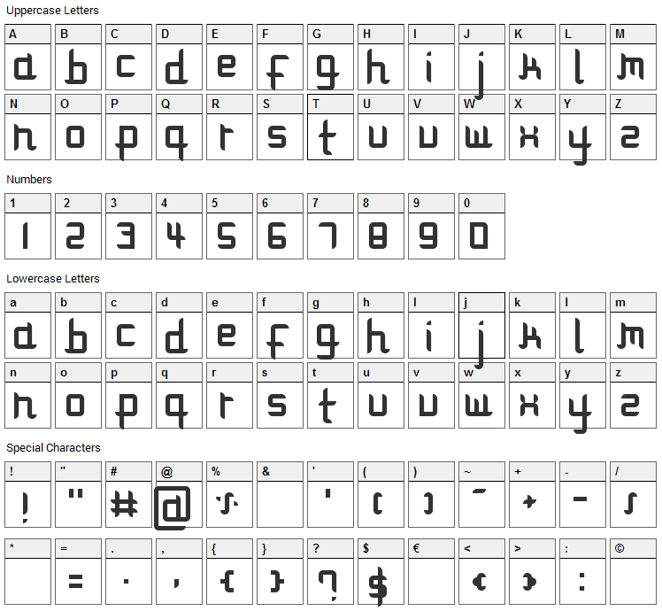 Modulare 1 Font Character Map
