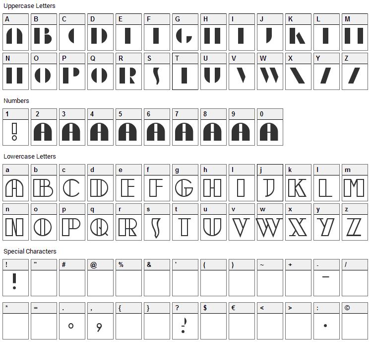 Moebius Font Character Map
