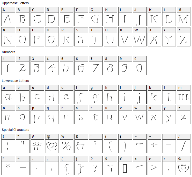Mojacalo Relief Font Character Map