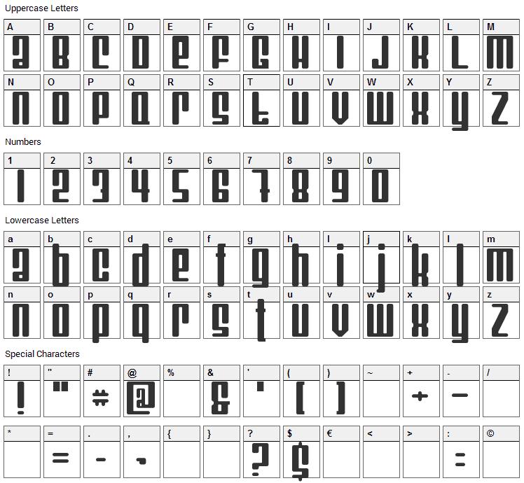 Mojo Font Character Map