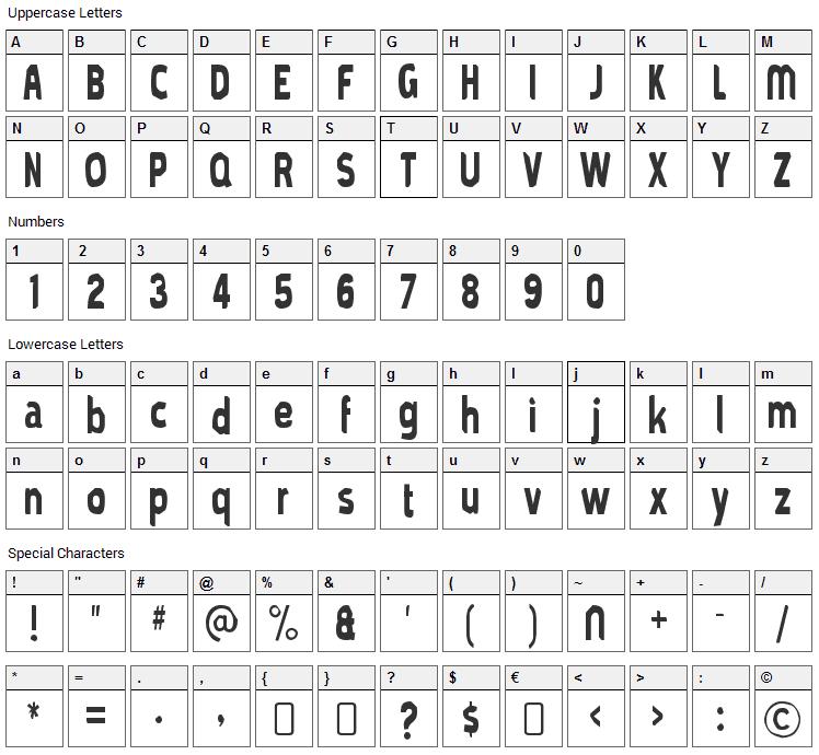 Mold Papa Font Character Map
