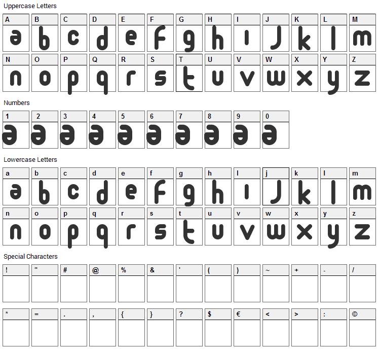 Moloko Font Character Map