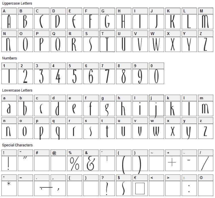 Monika Font Character Map
