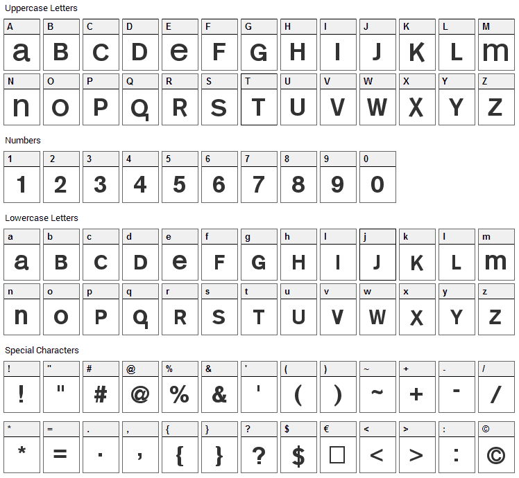Mono Alphabet Font Character Map