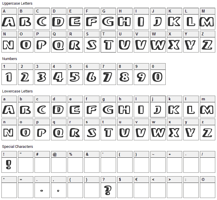 Mono Font Character Map