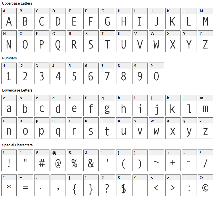 Mono Spatial Font Character Map