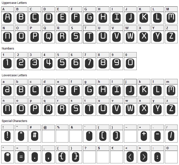 Monofett Font Character Map
