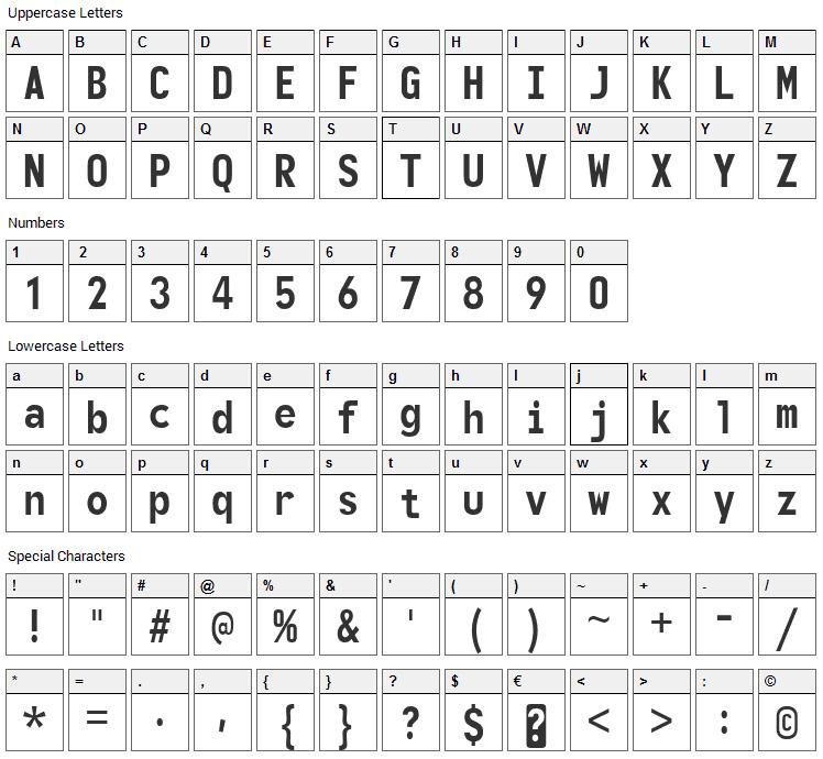Monofonto Font Character Map