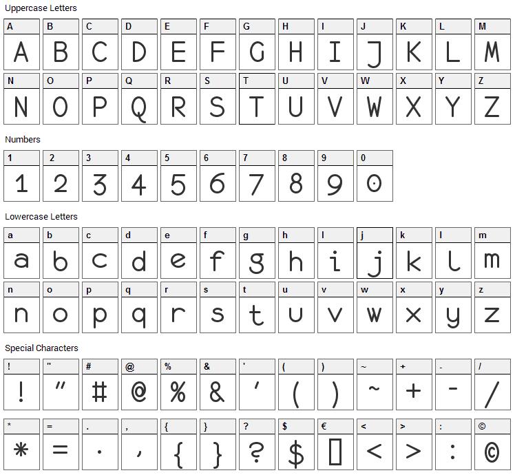 Monofur Font Character Map