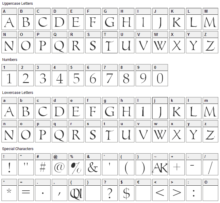 Monograms Toolbox Font Character Map