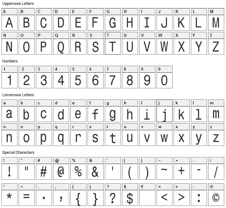 Monospace Typewriter Font Character Map