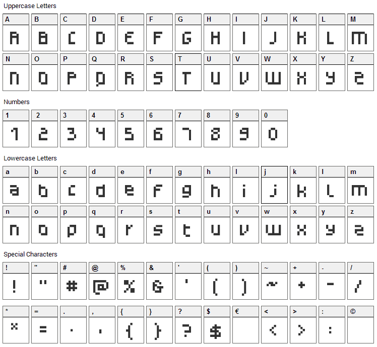 Monotype Gerhilt Font Character Map