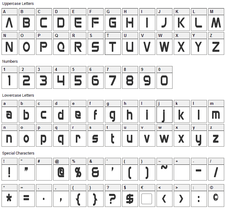 Mons Olympia Font Character Map