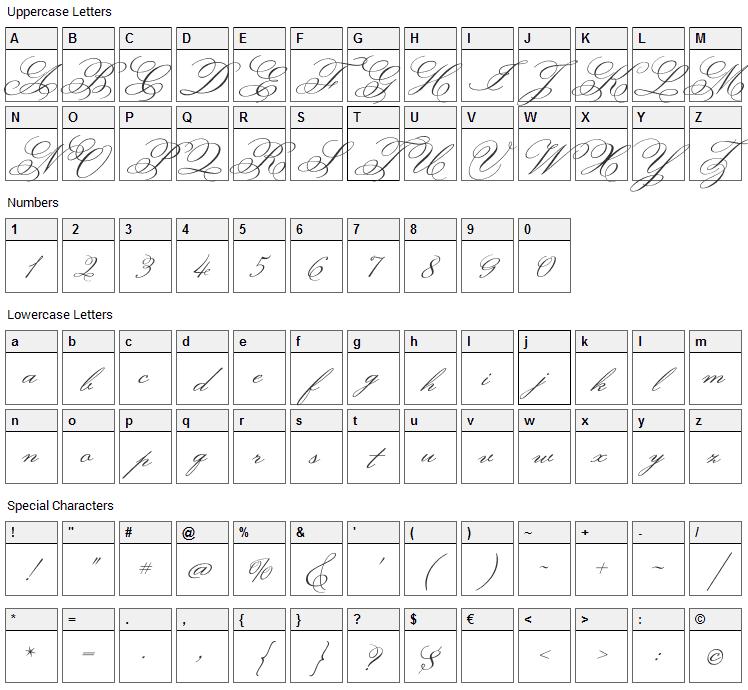 Monsieur La Doulaise Font Character Map