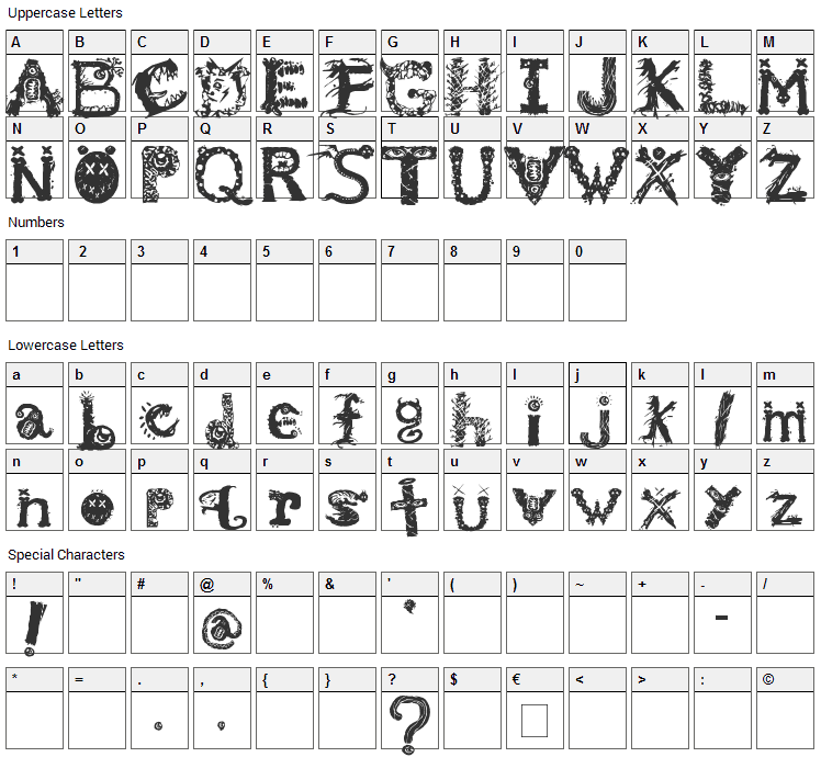 Monstrous Zosimus Font Character Map