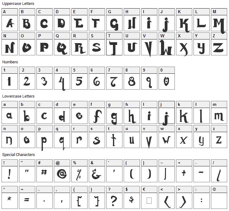 Monstur Font Character Map