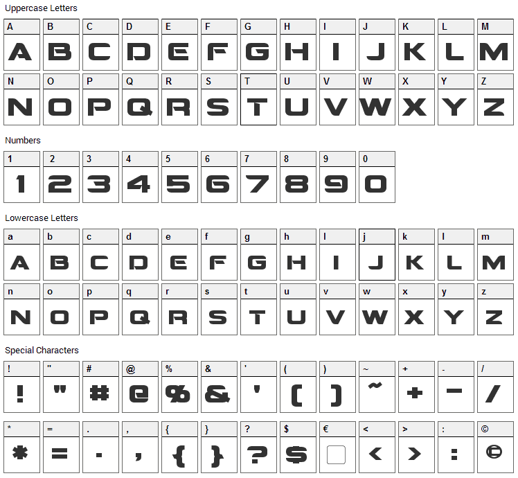 Montalban Font Character Map