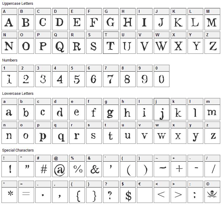 Monteiro Lobato Font Character Map