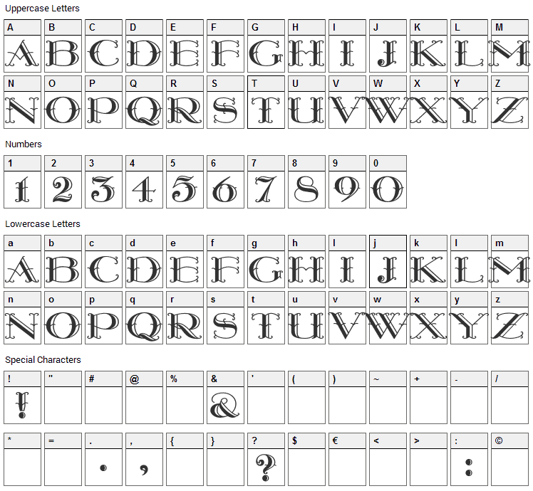 Monterey Wide Font Character Map