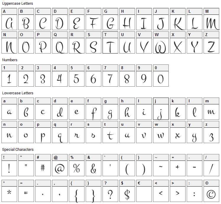 Montez Font Character Map