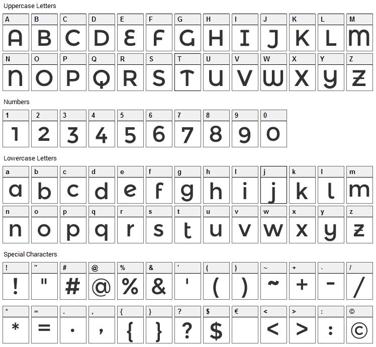 Montserrat Alternates Font Character Map